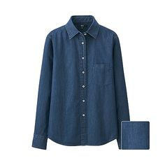 simple denim shirt You'll love the rough, casual feel of this long sleeve denim shirt. A slightly longer hem in the front and back give it a trendier look than ever before.