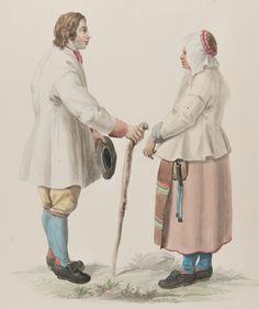 """Kvinna och man med käpp. Akvarell av C.W. Swedman."""" Jfr Costume of Sweden Pl. 19 & 20."""" Mora, Dalarna."""