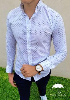Camisa Slim Fit Blanca Mini Rombos Azules. Vestimenta Casual HombresCamisas  Hombre VestirRopa ... 01cb1de5aeb5