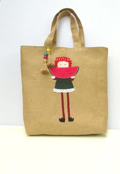 Summer fruits Watermelon wedge summer jute tote by Apopsis on Etsy