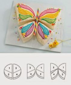 Mes petites curiositées: Kuchen in Schmetterlingsform - Kuchen Kindergeburtstag - Essen How To Make Butterfly, Butterfly Cakes, Butterfly Party, Cake Tutorial, Cakes And More, Party Cakes, Let Them Eat Cake, Amazing Cakes, Food Art