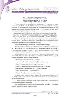 Bases para la provisión por el sistema de concurso- oposición, de varias plazas de profesores/as de actividades extraescolares para el curso escolar 2017/2018,…