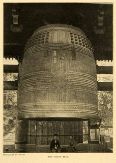 This is an original 1903 halftone print of the Great Bell of Kyoto, Japan, located in the Chion-In Temple. It is the second largest ringing bell of the world, and weighs over 70 tons. Photography by E