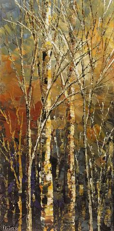 Forest Painting Palette Knife Landscape Art by TatianasART on Etsy