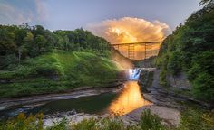 Mushroom Cloud Over Upper Falls by Mark Papke. Prints available on my website. #Letchworthstatepark #waterfalls #sunsets #landscapephotography #photography #naturephotography