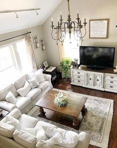 Are you searching for pictures for farmhouse living room? Check this out for very best farmhouse living room inspiration. This farmhouse living room ideas seems to be excellent. Living Room Tv, Living Room Interior, Apartment Living, Living Room Furniture, Cozy Apartment, Kitchen Living, Interior Livingroom, Rustic Apartment, Apartment Interior