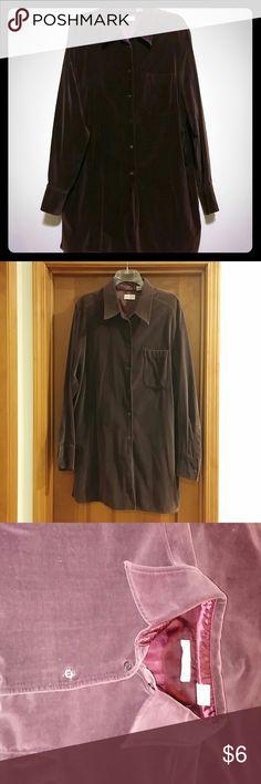 Purple Button Down Shirt Retro look velour textured button down shirt in a plum color. 100% cotton. In good condition. Elisabeth by Liz Claiborne Tops Button Down Shirts