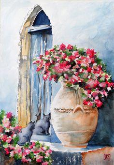 """""""Ravello ,Villa Cimbrone """" acquerello 35x50 di Lorenza Pasquali Paintings www.lorenzapasquali.it Copyright © Lorenza Pasquali -"""