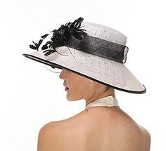 19e74df5 Women Kentucky Derby Church Sunday Feather Dress Wide Brim Hat White with  Black