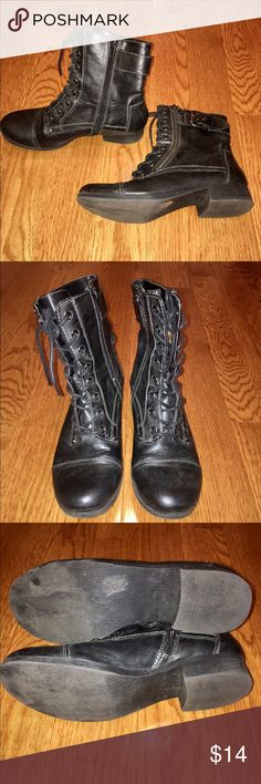 Guess combat boots Guess black combat boots. Lace up and zipper on inside. Super cute! Maybe worn a couple of times, so in great condition. Small dirty spot on bottom of right boot. Size 7 1/2. Guess Shoes Combat & Moto Boots