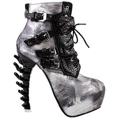 Punk Black Snake Print Lace Up Buckle Bone Heels Platform Ankle Boots,LF80648 ** You can get more details by clicking on the image. (This is an affiliate link) #AnkleBootie