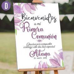 Cartel de Bienvenida Comunión Acuarela First Communion Banner, First Communion Decorations, First Communion Dresses, Diy Craft Projects, Crafts, Baptism Party, Ideas Para Fiestas, Design Furniture, Plywood Furniture