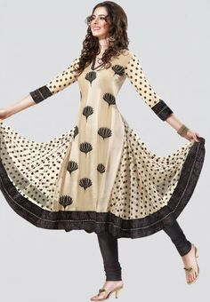 Embroidered Black And Beige Dress Material