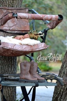 Newborn baby in a Deer stand