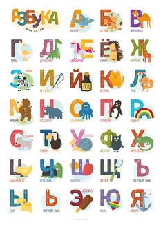 Azbuka – poster with Cyrillic alphabet Alphabet For Kids, Preschool Letters, Alphabet And Numbers, Stem For Kids, Art For Kids, Cyrillic Alphabet, Alphabet Fonts, Alphabet Print, Room Posters