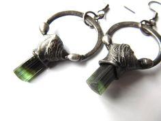 the forest gentry - green cap tourmaline earrings - raw crystal jewelry Tourmaline Earrings, Green Tourmaline, Custom Caps, Raw Crystal Jewelry, Nature Spirits, Grain Of Sand, Green Life, Heart Chakra, Crystal Healing
