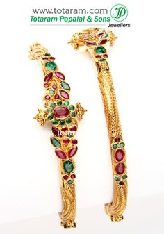 22K Fine Gold Kada with Ruby & Emerald - Set of 2 (1 Pair). - GK335 - Indian Jewelry from Totaram Jewelers