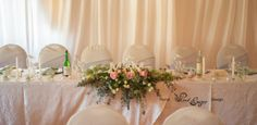 Floral Design & Decor by www.pinkenergyfloraldesign.co.za Bridal Table, Floral Design, Tables, Table Decorations, Pink, Furniture, Home Decor, Mesas, Decoration Home