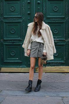 Paris fashion week street style, camera bag, louis vuitton, sheepskin coat, wool coat, monki, pfw street style, estelle pigault, shearling coat,