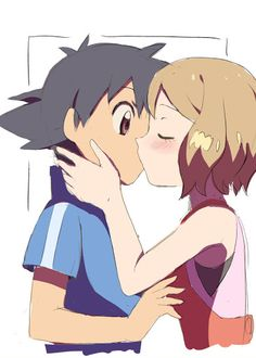 Amourshipping (Ash x Serena) Sealed with a Kiss.
