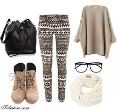 Print Leggings + Bucket bag + Lace boots + Infinity scarf + Cozy sweater = Classic Fall look.