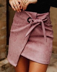 Western Style Women Mini Fashionable Sexy Irregular Fake Deer Suede Skirt Female Above Knee Knot Tied Solid Casual Skirt S-XL – Clothing & Women Moda Fashion, Fashion Week, Fashion Looks, Womens Fashion, Fashion Casual, Casual Chic, Fashion Outfits, Fashion Skirts, Estilo Glamour