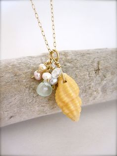 Hawaiian Gypsy - Shell necklace on gold chain  made in Hawaii - by Tidepools Jewelry