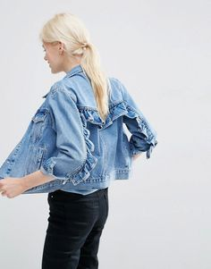 Image 1 -ASOS Denim Western Jacket in Mid Stone-wash Blue with Frill Detail