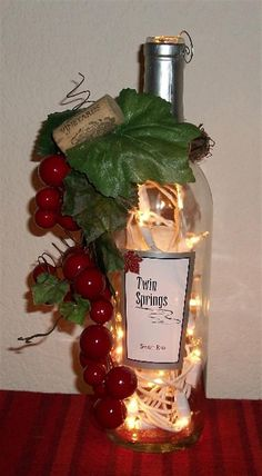 Bing : Wine bottle crafts with lights. //  I THINK I WOULD FROST THE BOTTLE FIRST. A