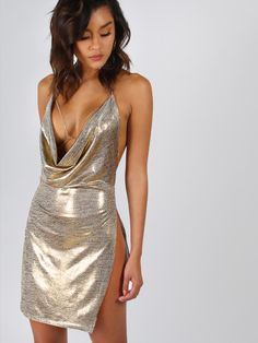 Cheap club dress, Buy Quality summer dress directly from China women summer dress Suppliers: COLROVIE Metallic Plunge Cowl Party Dress Gold Sexy Slit Backless Women Summer Dresses 2017 Mini Bodycon Draped Slim Club Dress Club Dresses, Sexy Dresses, Short Dresses, Vegas Dresses, Sleeveless Dresses, Tight Dresses, Formal Dresses, Shein Dress, Cowl Neck Dress