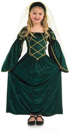 Girls Green Tudor Dress Princess Medieval Ogre Courtier Fancy Costume S M L XL  sc 1 st  Pinterest & Tudor medieval girl fancy dress costume girls purple victorian ...