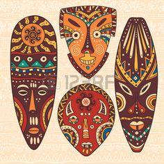 mascaras africanas: La ilustración decorativa brillante con patrones africanos. Puede ser utilizado en el diseño de la tela para la fabricación de ropa, accesorios, creando papel decorativo, envoltura, sobre, en el diseño web