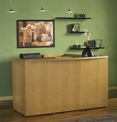 Luminary Series L Shaped Wood Reception Desk by Mayline at OfficeFurnitureDeals.com - #ReceptionFurniture #ReceptionDesk