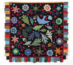 LIZ ALPERT FAY :: LEAVES ARE GREEN, NUTS ARE BROWN :: wool, pearl cotton thread, hand stitched ::28.5 x 30