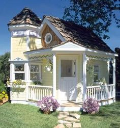 Victorian Playhouse : Luxury Playhouses at PoshTots.Maybe if I win the lotto. These play houses are AMAZING! Pretty much mini real houses! Cute Cottage, Beach Cottage Decor, Cottage Style, Yellow Cottage, Romantic Cottage, Fairytale Cottage, Garden Cottage, Backyard Cottage, Cottage Porch
