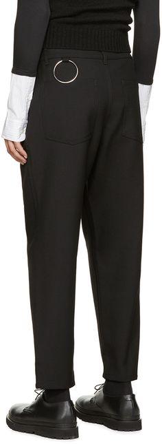 Raf Simons: Pantalon chino noir à anneau