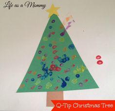 Q Tip Christmas Tree Painting { Kids Craft }