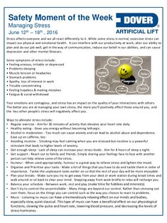 Safety Moment Ideas, Safety Moment Topics, Safety Topics, Health And Safety Poster, Safety Posters, Office Safety, Workplace Safety, Coping With Stress, How To Relieve Stress