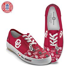f79dcfaef2d I Love The Sooners Women's Shoes. Stitched canvas sneakers in crimson red  with OU logos and the Boomer Sooner® name.
