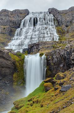 Dynjandi (also known as Fjallfoss) is a seriesof waterfalls located in the Westfjords (Vestfirðir), Iceland. The waterfalls have a cumulative height of 100 metres (330 ft)--- Iceland