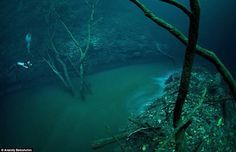 A layer of hydrogen sulphide flows at 100ft in a water filled cave (Cenote Angelita) located in Mexico's Yucatan Peninsula.  http://impressivemagazine.com/2014/09/30/mexicos-mystical-underwater-river/