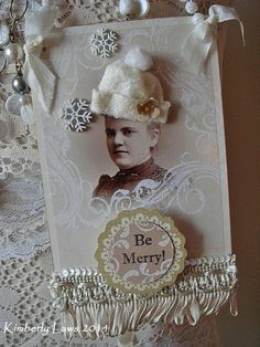 BE MERRY  altered cabinet card  Christmas  by ajoy2bheld on Etsy