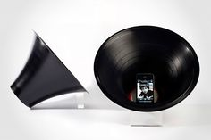Change the Record iPhone Speaker (US$PoA). power-free iPhone speaker crafted from actual 12-inch vinyl record. beautiful stuff!