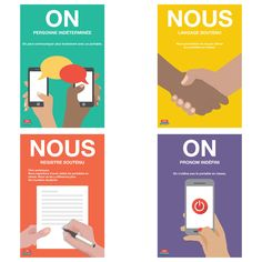 On ou nous? This four-poster set reminds students which pronoun to use and when.   ©2017. French. 13 x 19 inches. Cardstock.