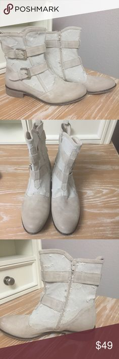 Boutique 9 boots Boutique 9 boots perfect with jeans or a summer dress!  Putty colored suede and cloth construction in good condition.  Intentionally distressed look. Boutique 9 Shoes Ankle Boots & Booties