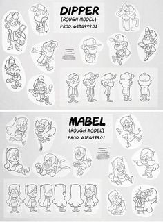 Dipper and Mabel Rough Models