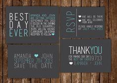 Best Day Ever modern wedding invitation by scribblesandswatches, $45.00