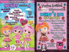 """Lalaloopsy Invitations & matching Party Supplies available .This invitation in the Lalaloopsy theme will """"WOW your party guests. Customized just for you; party supplies to match are available. 17 different design styles to choose from. Custom Party Invitations, Lalaloopsy, Party Guests, Design Styles, Party Supplies, Birthday Parties, Party Ideas, Dolls, Kids"""