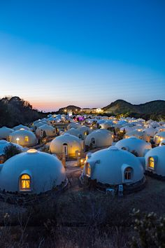 Dome Cottages in Toretore Village Sirahama, Wakayama, Japan Earthship Home, Wakayama, Café Bar, Japanese Landscape, Dome House, Amazing Architecture, Japan Architecture, Japan Travel, Travel Inspiration