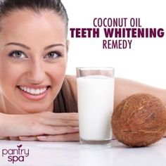 Coconut Oil Whitens Teeth - swish 1 T coconut oil for 10-15 min.  Rinse.  Supposedly visibly whiter teeth in a few days.
